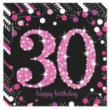 Servietten Happy Birthday Sparkling Pink 30, 16 Stück Packung