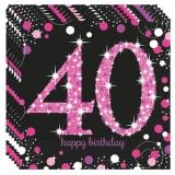 Servietten Happy Birthday Sparkling Pink 40, 16 Stück Packung