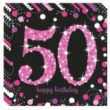 Servietten Happy Birthday Sparkling Pink 50, 16 Stück Packung