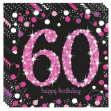 Servietten Happy Birthday Sparkling Pink 60, 16 Stück Packung
