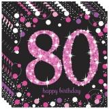 Servietten Happy Birthday Sparkling Pink 80, 16 Stück Packung