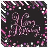Servietten Happy Birthday Sparkling Pink, 16 Stück Packung