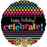 Folien-Luftballon Birthday Celebrate, Musikballon