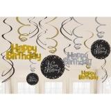 Deko-Spiralen Happy Birthday Sparkling Gold, 12 Stück