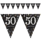 Wimpelkette Happy Birthday Sparkling Gold 50, holografisch, 3,96 m