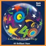 PVC-Ballons, Happy Birthday 40, Brilliant Stars