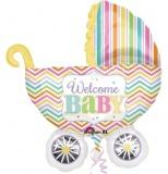 Folien-Luftballon Geburt, Baby Carriage, Shape, 5 Stück