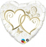 Luftballon Hochzeit, Entwined Hearts, gold, 5 Stück