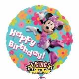 Folien-Luftballon Minnie, Happy Birthday, Musikballon