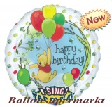 Folien-Luftballon Pooh Happy Birthday, Musikballon