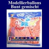 Deko-Latexballons, Modellierballons, 5 cm, bunt gemischt, 100 Stück