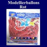 Deko-Latexballons, Modellierballons, 5 cm, Rot, 100 Stück