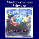 Deko-Latexballons, Modellierballons, 5 cm, Schwarz, 100 Stück